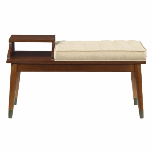 ACME Baptis Bench in Walnut and Fabric Perspective: back