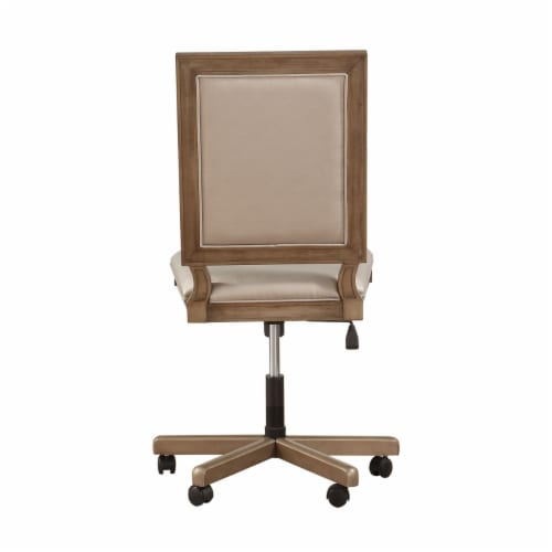 Saltoro Sherpi Wooden Executive Office Chair with Leatherette Upholstered Seat and Back, Perspective: back