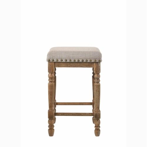 ACME Furniture 77177 Farsiris Rubberwood Counter Height Bar Stool, Weathered Oak Perspective: back