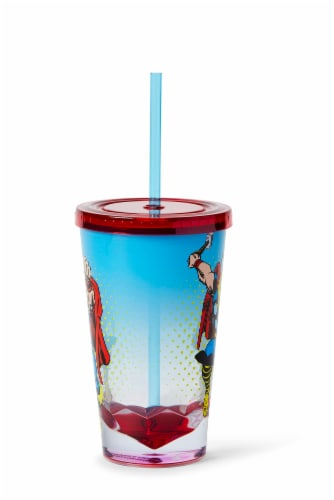Marvel Thor God Of Thunder Plastic Tumbler Cup Lid & Straw   Holds 19 Ounces Perspective: back