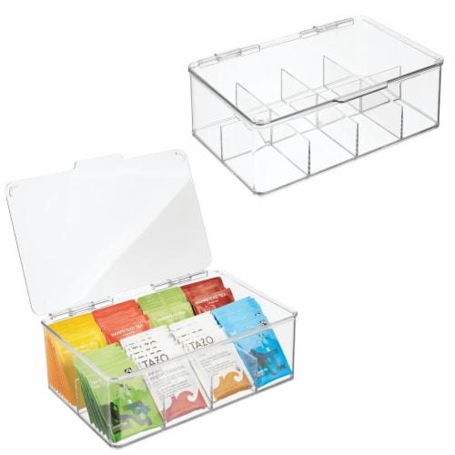 mDesign Stackable Plastic Tea Bag Organizer Kitchen Storage Box, 2 Pack Perspective: back