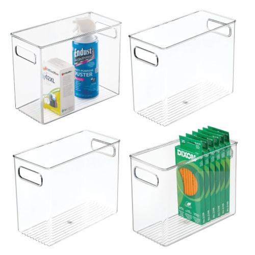 mDesign Plastic Desk Organizer Bin for Home, Office, 4 Pack Perspective: back