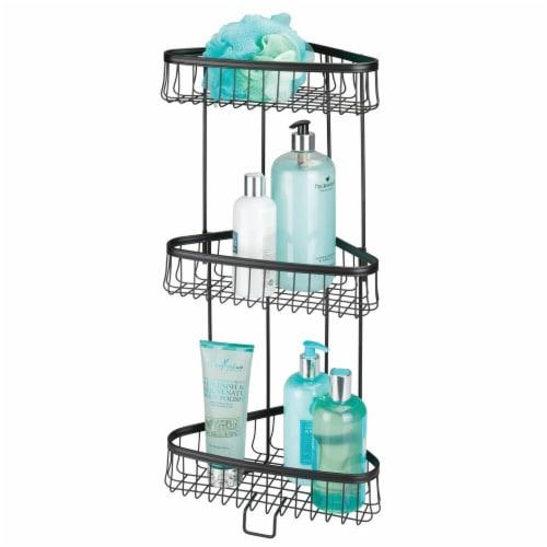 mDesign Metal 3-Tier Vertical Corner Shelf Unit for Bathroom Storage - Black Perspective: back