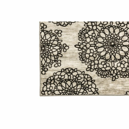 Saltoro Sherpi Nylon and Latex Area Rug With Flower Pattern, Small, Black and Beige Perspective: back