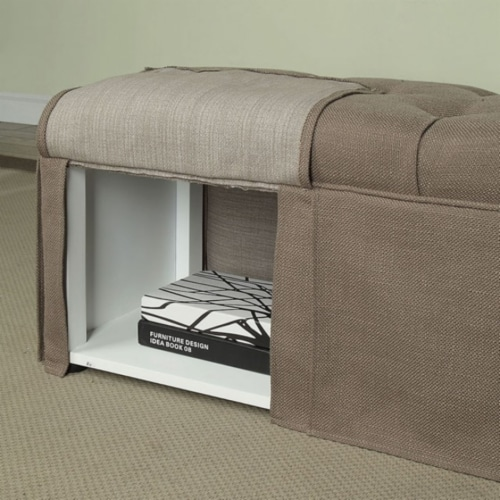Saltoro Sherpi Rectangular Button Tufted Fabric Upholstered Bench With Storage, Brown Perspective: back