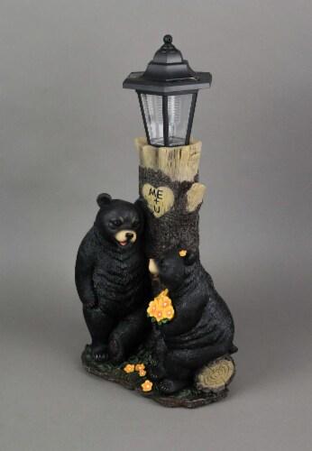 Bear First Date Solar LED Lantern Statue Outdoor Decorative Garden Light Figure Perspective: back