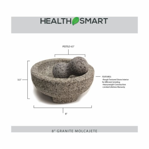 HealthSmart 8 Inch ranite Molcajete Set a Stylish Yet Durable Mortar  Pestle Set Perspective: back