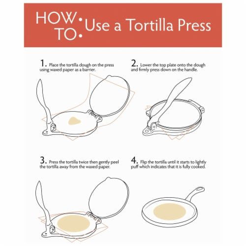 Chefs Secret Red Tortilla Press ,  6-Inch Perspective: back