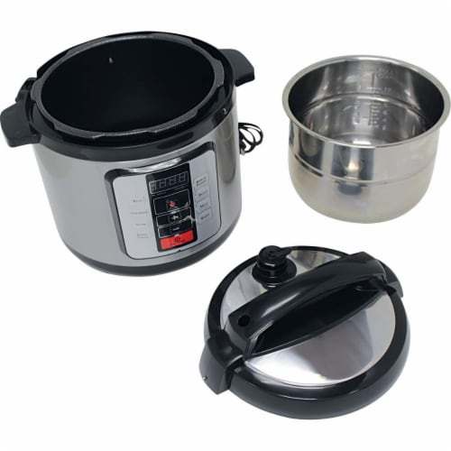 Precise Heat KTELPCS Electric Pressure Cooker Stainless Steel inner Pot - 6.3 qt Perspective: back