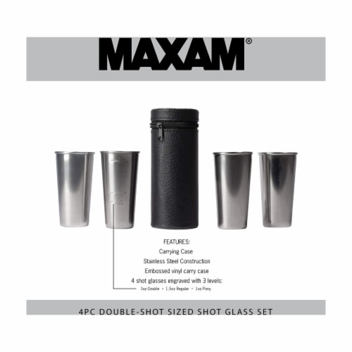 Maxam Stainless Steel 4-Piece Double-Shot Sized Shot Glass Set with Carrying Case Perspective: back