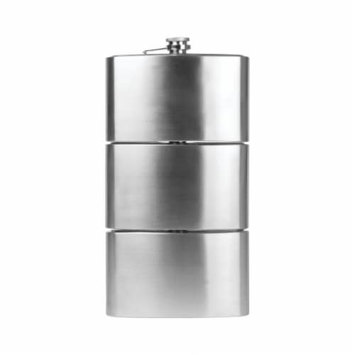 Maxam Three Flasks in One for a Fun Variety of Liquor Stainless Steel 3-24 Ounce Flasks Perspective: back