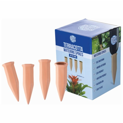 Wyndham House  4-Piece Terracotta Watering Spikes, Convenient Plant Watering System Perspective: back