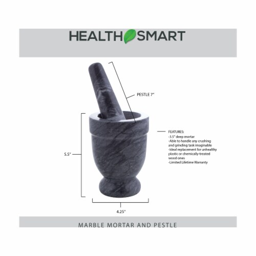 HealthSmart 4 Inch Wide 3.5 Inch Deep Black Marble Mortar and Pestle Perspective: back