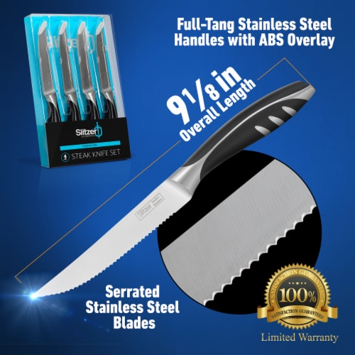 4-Piece Steak Knife Set, 9 1/8 Inch Stainless Steel Serrated Blade, Full Tang w/ ABS Overlay Perspective: back
