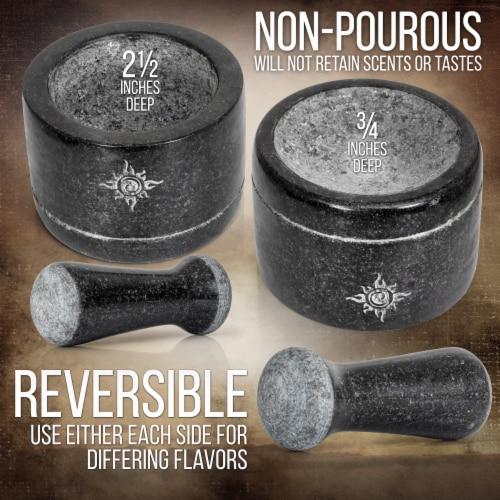 Health Smart Mortar and Pestle Set - Dual Sided/Flip Solid Granite Bowl for Grinding Seeds Perspective: back