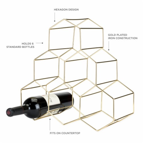 Gold Geo Counter Top Wine Rack by Viski® Perspective: back