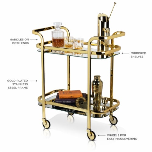 Viski 5891 Belmont Gold Bar Cart Perspective: back