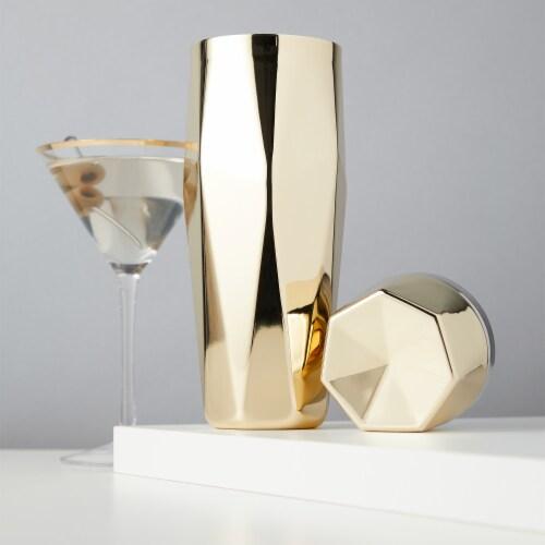 Viski 6425 30 oz Belmont Apex Faceted Cocktail Shaker, Gold Perspective: back