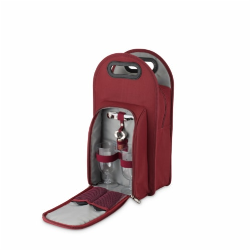 Metro™: 2-Bottle Tote in Burgundy & Grey Perspective: back