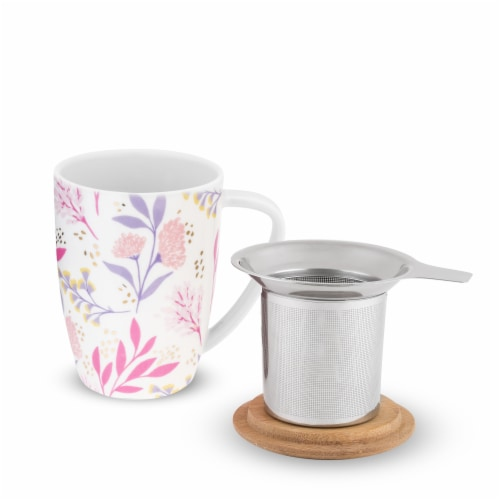 Pinky Up 8182 12 oz Bailey Botanical Bliss Ceramic Tea Mug & Infuser, Multicolor Perspective: back