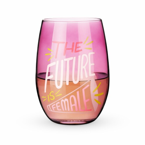 The Future is Female Stemless Wine Glass by Blush® Perspective: back