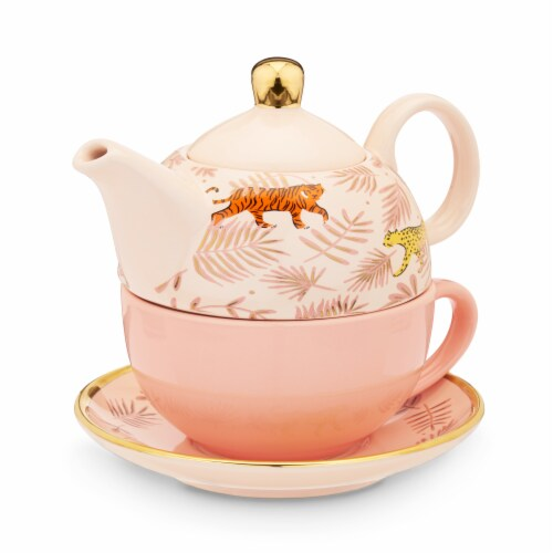Pinky Up Addison Bangladesh Tea for One Teapot & Cup Set - Pink Perspective: back