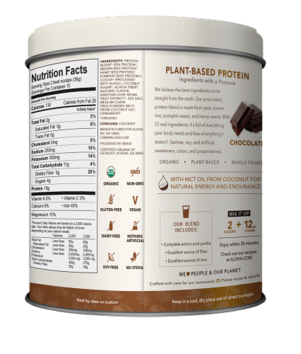 Aloha Organic Chocolate Protein Powder Perspective: back