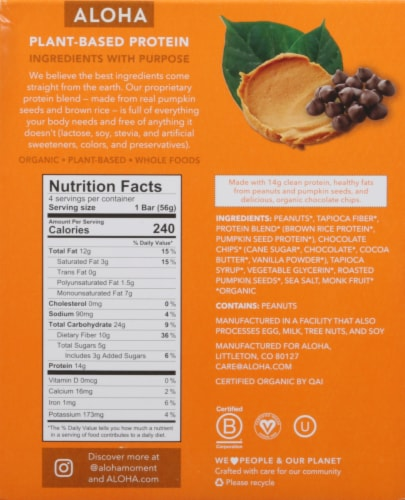 ALOHA Organic Plant-Based Protein Bar Peanut Butter Chocolate Chip 4 Count Perspective: back
