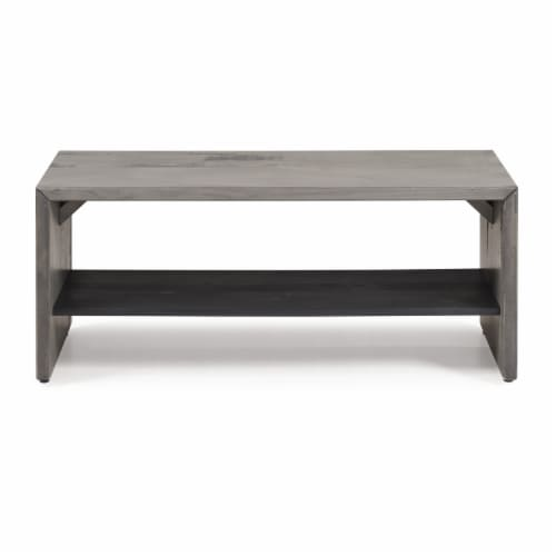 """42"""" Solid Rustic Reclaimed Wood Entry Bench - Grey Perspective: back"""