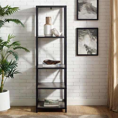 Metal X Media Tower Bookcase with Wood Shelves - Gray Wash Perspective: back