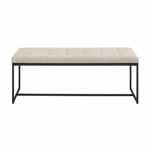 48  Tufted Upholstered Bench with Metal Base - Tan Perspective: back