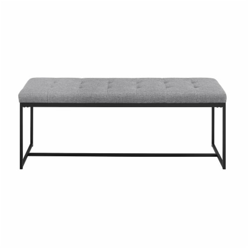 48  Tufted Upholstered Bench with Metal Base - Grey Perspective: back