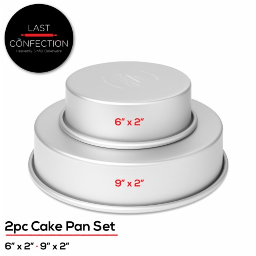 2pc Round 6  and 9  Cake Pan Set, Aluminum 2  Deep - Last Confection Perspective: back