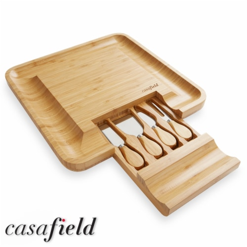 Bamboo Cheese Board & Knife Gift Set, Charcuterie Serving Tray Perspective: back