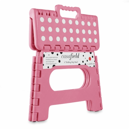 9  Folding Step Stool with Handle in Light Pink by Casafield Perspective: back