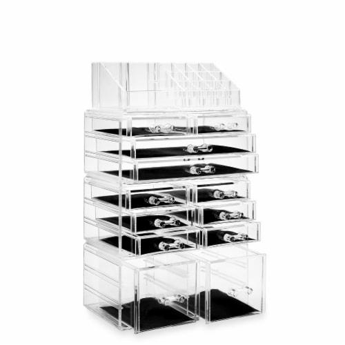 Acrylic Makeup Cosmetic Organizer & Jewelry Storage Set - Large Perspective: back