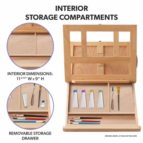 Beechwood Table Easel- Adjustable with Palette and Storage- 7 Elements Perspective: back