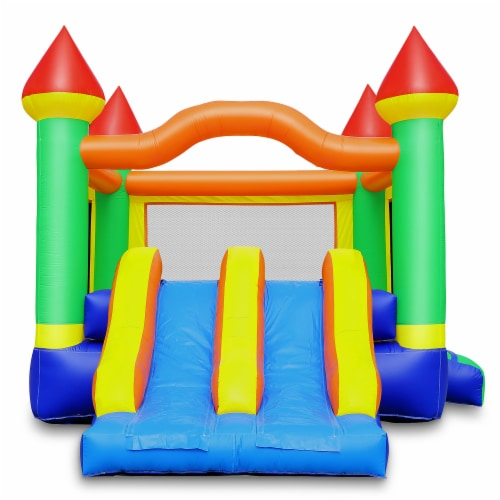 Commercial Mega Double Slide Castle Bounce House w/ Blower by Cloud 9 Perspective: back