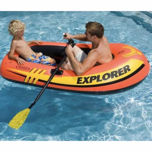 Intex Explorer 200 Inflatable Two Person Raft Set with Oars and Pump, Set of 3 Perspective: back