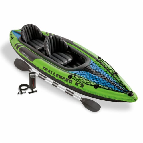 Intex Challenger K2 2-Person Inflatable Sporty Kayak + Oars And Pump (4 Pack) Perspective: back