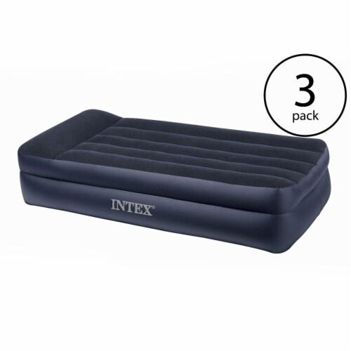 Intex Pillow Rest Twin Size Raised Pillow Air Mattress w/ Built-In Pump (3 Pack) Perspective: back