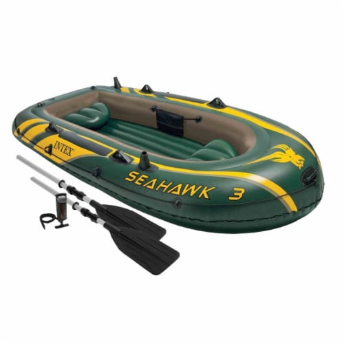 Intex Seahawk 3 Person Inflatable Boat Set with Aluminum Oars & Pump (3 Pack) Perspective: back