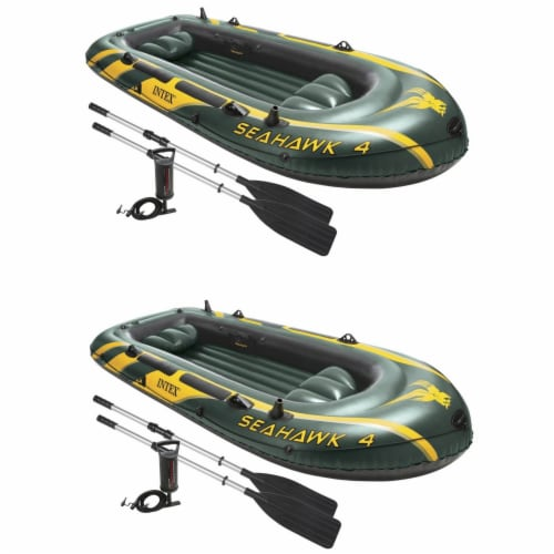 Intex Seahawk 4 Inflatable 4 Person Boat Raft Set with Oars & Air Pump (2 Pack) Perspective: back