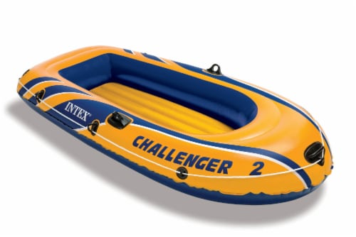 Intex Challenger 2 Inflatable 2 Person Boat Raft Set w/ Oars & Air Pump (2 Pack) Perspective: back