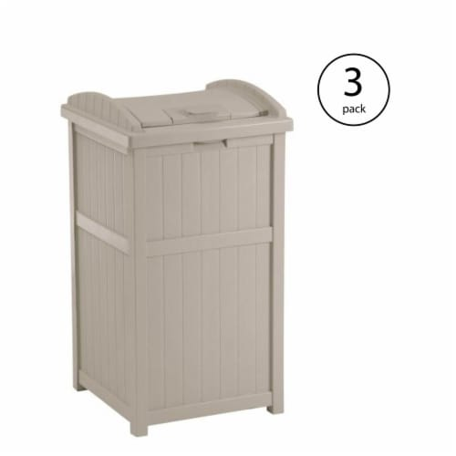 Suncast 30-33 Gallon Deck Patio Resin Garbage Trash Can Hideaway, Taupe (3 Pack) Perspective: back
