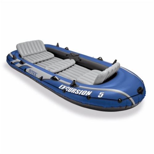 Intex Excursion 5 Person Inflatable Boat Set w/ 2 Oars, Air Pump & Bag (2 Pack) Perspective: back