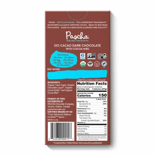 Pascha Organic Vegan Dark Chocolate 55% Cacao & Cocoa Nibs Perspective: back