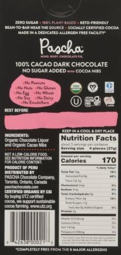 Pascha Organic 100% Cacao Dark Chocolate Bar Perspective: back