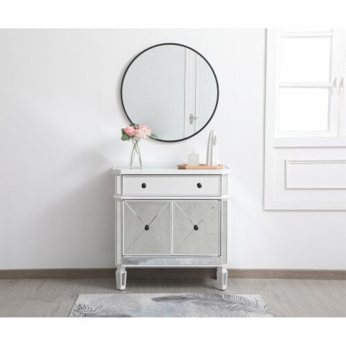 32 inch mirrored cabinet in antique white Perspective: back