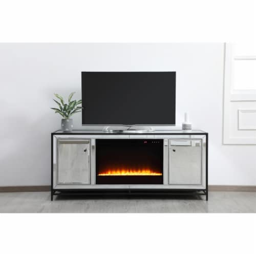 James 60 in. mirrored tv stand with crystal fireplace in black Perspective: back